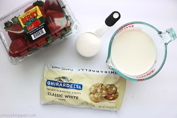 Ingredients to make Strawberry White Hot Chocolate