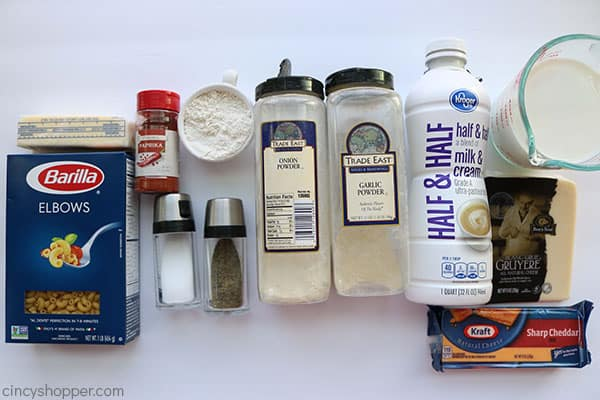 Ingredients for the BEST Creamy Mac and Cheese