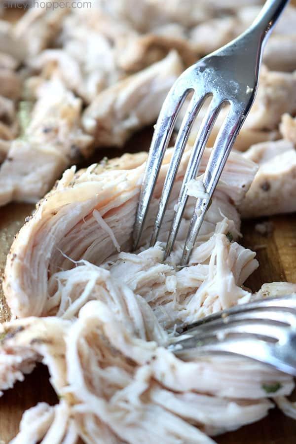 Shredded baked chicken breast.