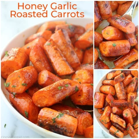 Small collage of honey garlic roasted carrots.
