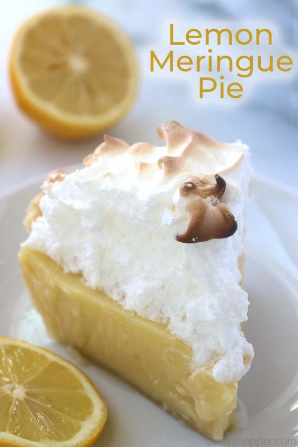 Lemon meringue pie with text.