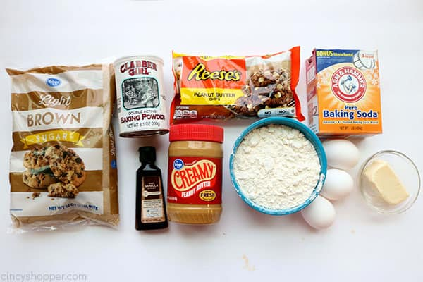 Ingredients for Peanut butter Brownies