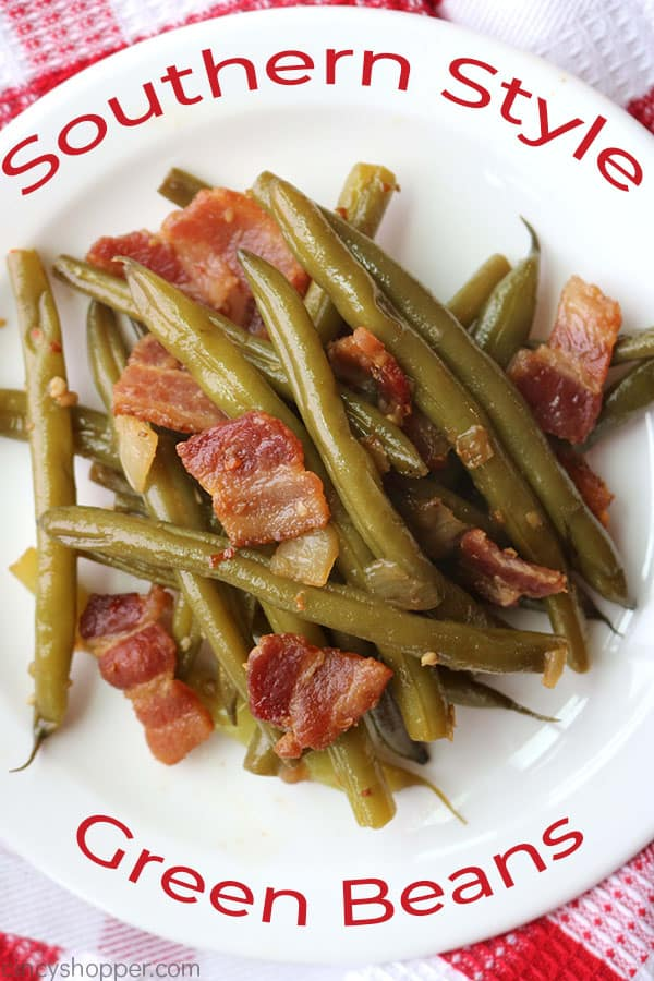 Southern style green beans on a plate.
