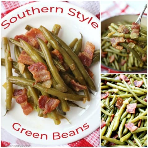 Collage of southern green beans