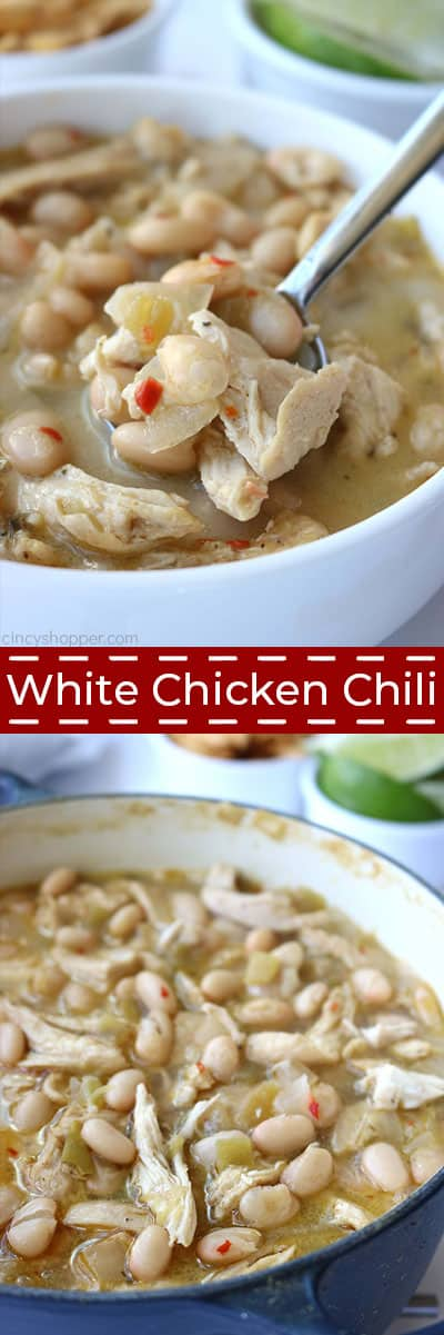 Long collage of White Chicken Chili
