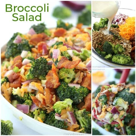 Small collage of creamy broccoli salad with bacon.