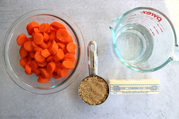 Ingredients to make brown sugar glazed carrots.