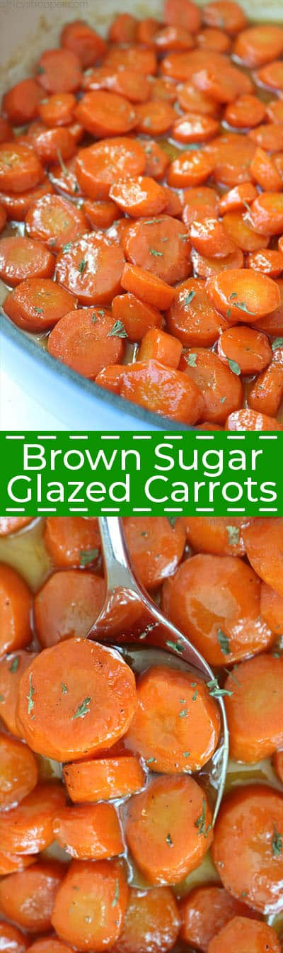 Brown Sugar Glazed Carrots in a pan and on a spoon collage.