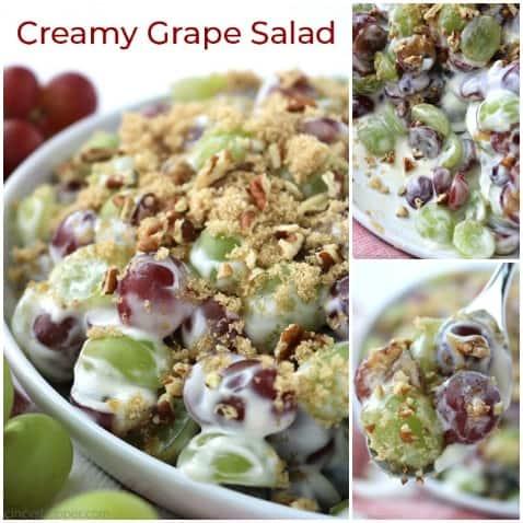 Small collage of creamy grape salad.