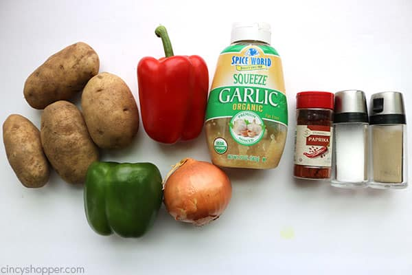 Ingredients to make easy breakfast potatoes.