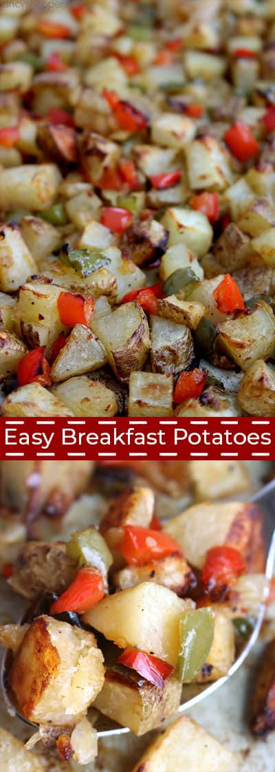 Long collage showing finished easy breakfast potatoes.