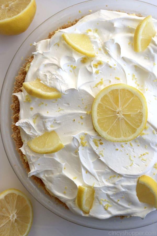 Lemon Pie on white background.