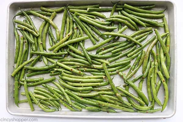 Fresh green beans on a sheet pan.