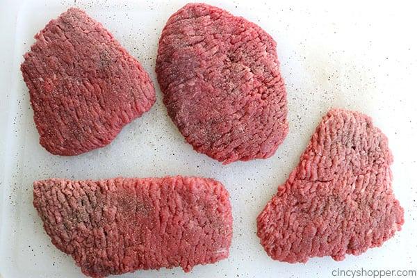 Seasoned cubed steaks for chicken fried steak.