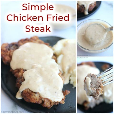 Small collage of chicken fried steak with white gravy.