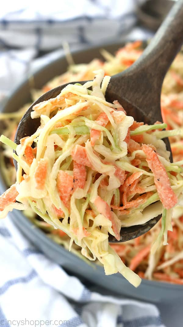 Creamy Coleslaw on spoon.