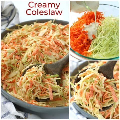 Collage of homemade coleslaw