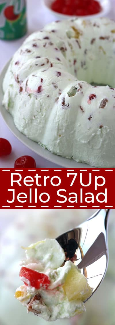 Retro 7Up Jello Salad long collagewith text.