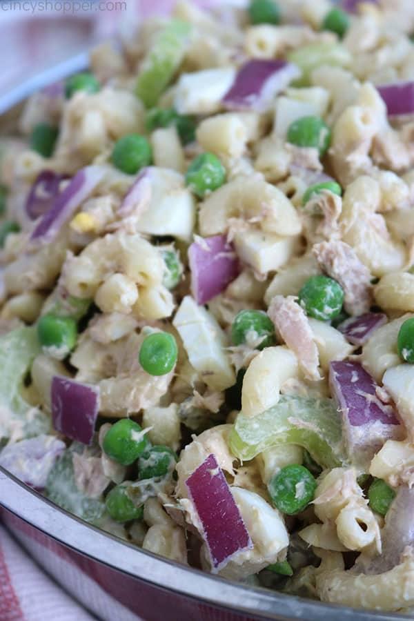 Creamy Tuna Pasta Salad in a bowl.