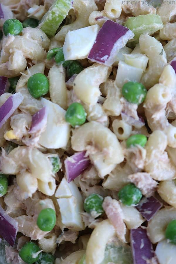 Closeup of Tuna Pasta Salad.
