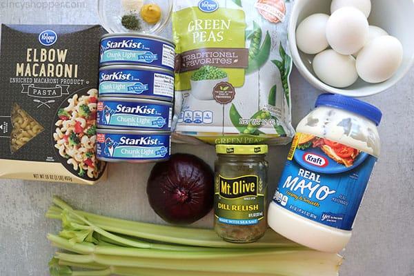 Ingredients to make Tuna Pasta Salad.