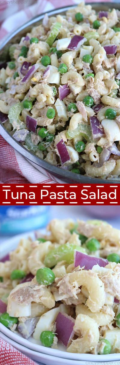 Long collage for Tuna Pasta Salad.