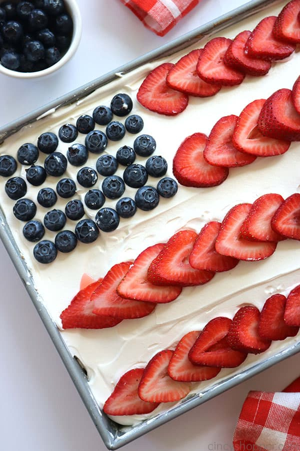 American Flag Cake in a pan