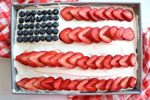Easy Flag Cake in a pan.