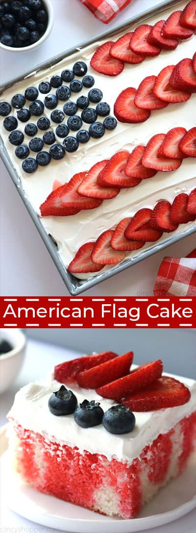 Long collage with American Flag Poke Cake