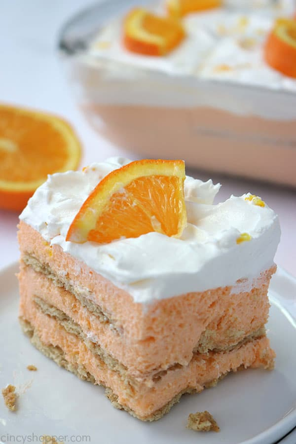 Creamsicle Icebox Cake slice on a plate.