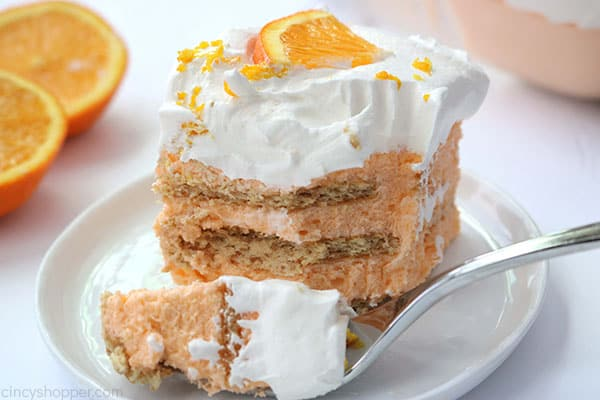 Orange Creamsicle Icebox Cake with a fork.