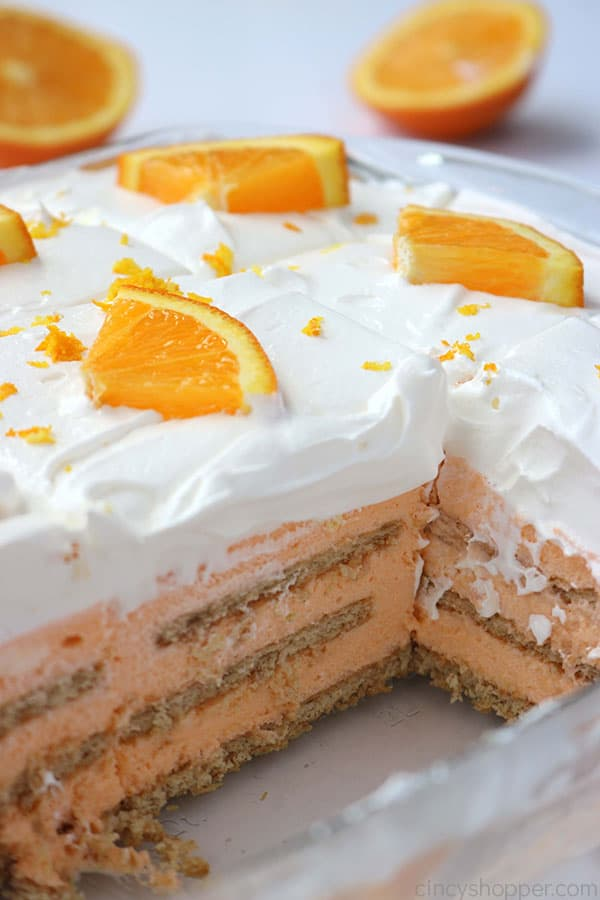The inside of a Orange Icebox Cake