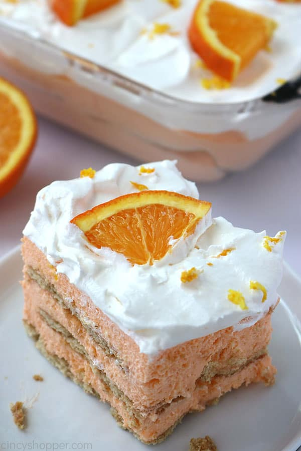 Orange Icebox Cake on a plate.