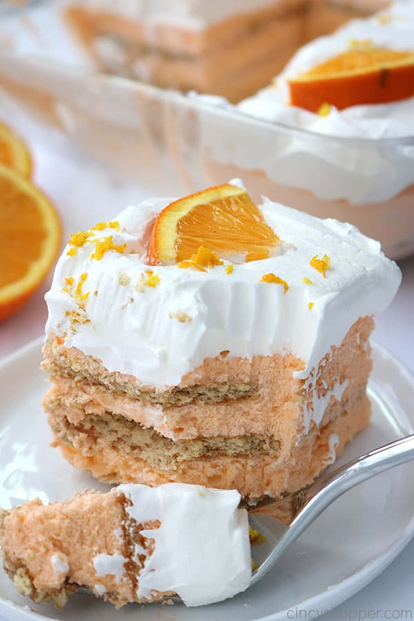 Creamsicle Icebox Cake slice with a fork.