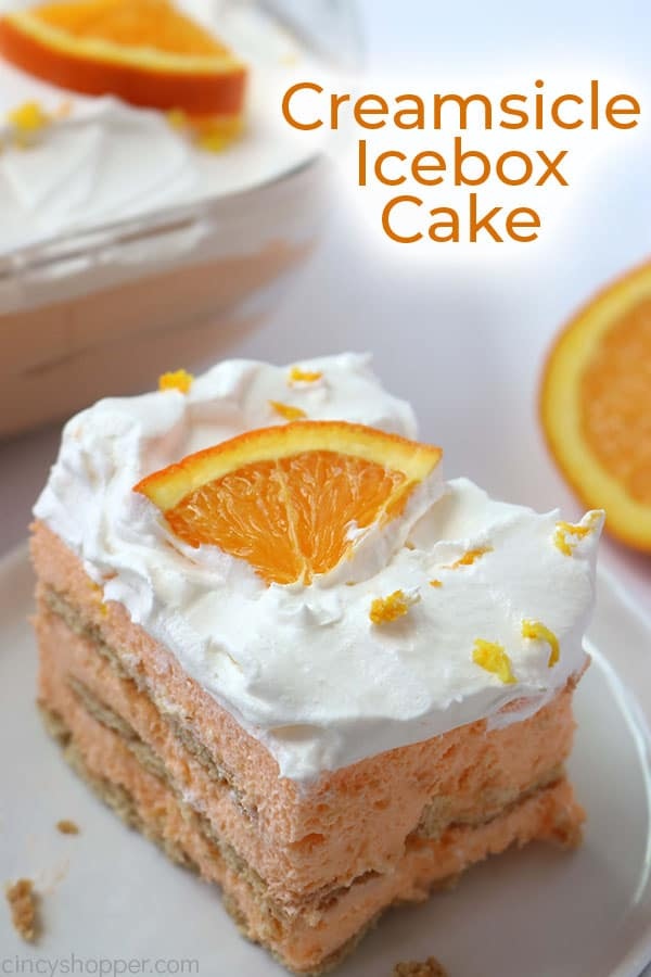 Orange Icebox Cake with text.
