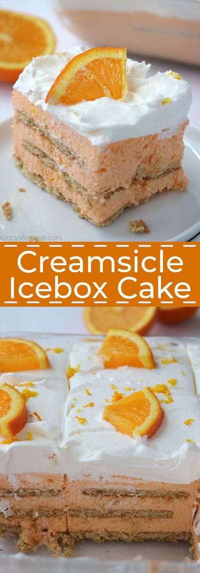 Long collage of Orange Creamsicle Icebox Cake