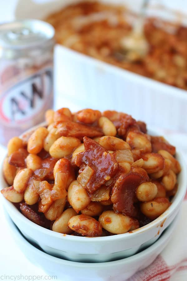 Root Beer Baked beans in a bowl.
