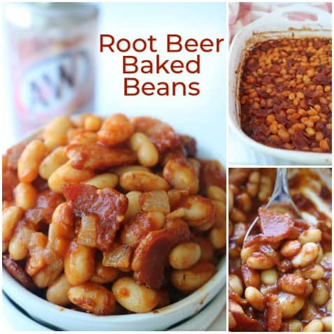 Small collage of easy Root Beer Baked Beans.