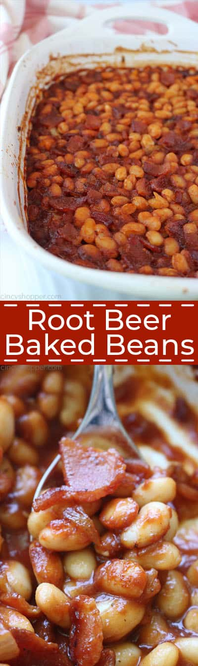 Long collage of Root Beer Baked Beans.