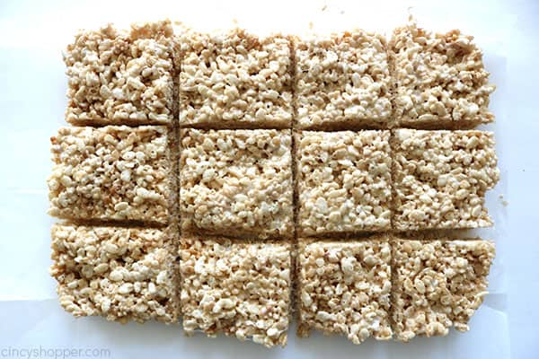 Cut in squares Krispie treats.