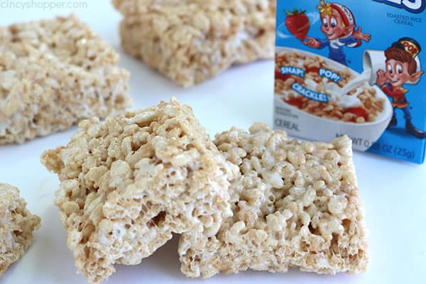 Rice Krispie Treats on a white surface.