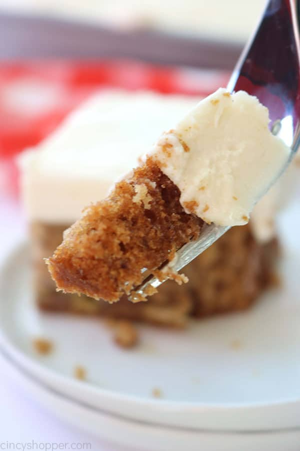 Banana Cake from scratch on a fork.