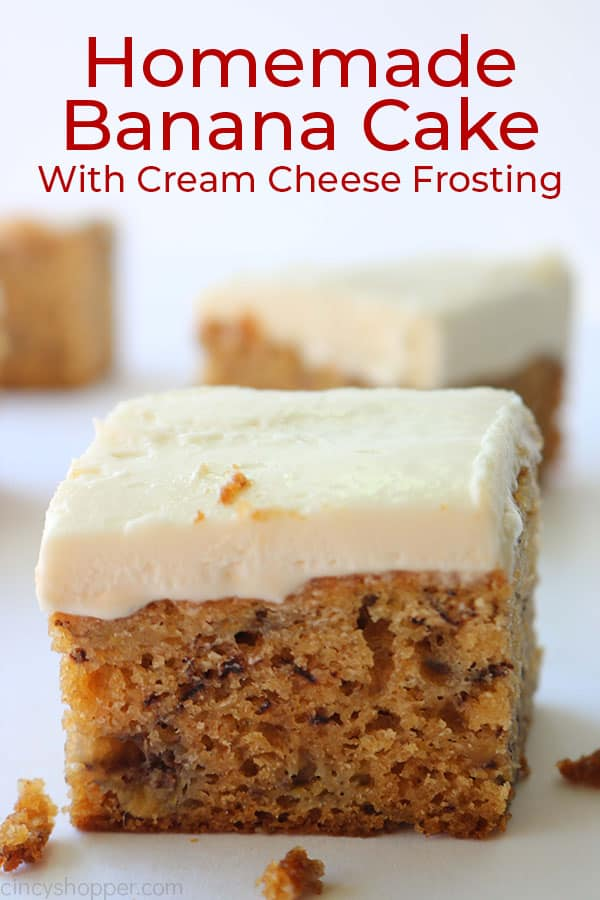 Best Banana Cake piece with cream cheese frosting and text.