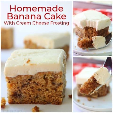 Small collage of Homemade Banana Cake.