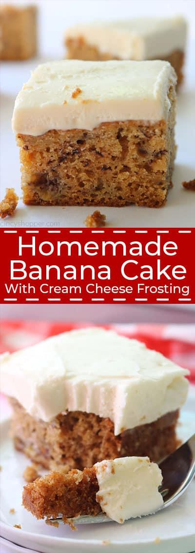 Long collage of Homemade Banana Cake.