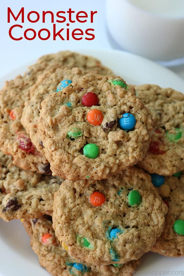 Monster Cookies on a white plate.