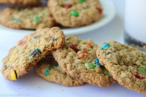 Stack of Monster Cookies on a white background.