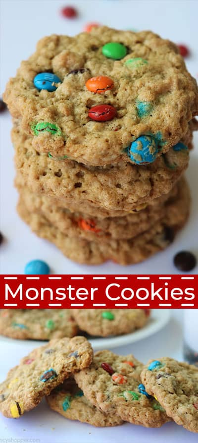 Monster Cookie recipe collage.