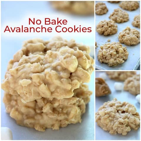 Small collage of No Bake Avalanche Cookies.