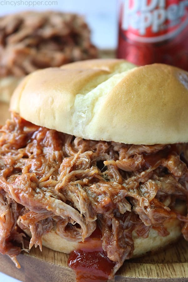 Dr. Pepper Slow Cooker Pulled Pork Sandwich